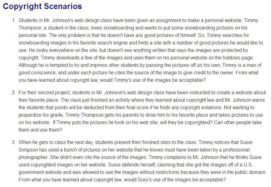 Example Copyright Scenarios